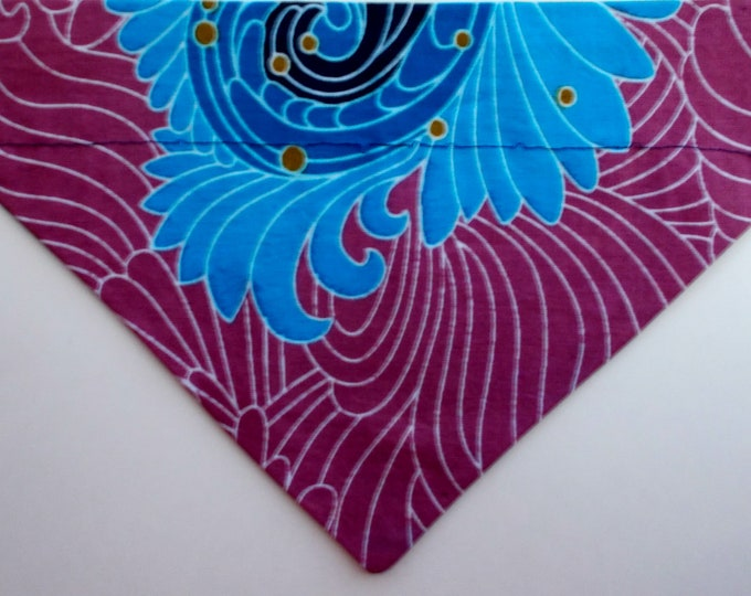 Dog Bandana, Over the Collar, African Wax Blue Floral Print