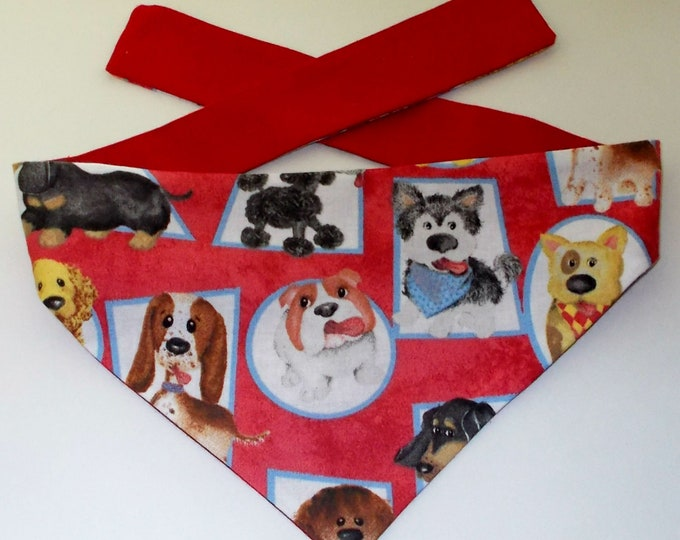 Dog Bandana, Tie On, Reversible, Puppy Faces Print