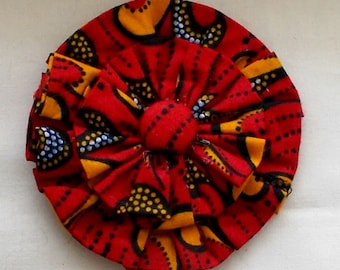 Dog Collar Flower Medium Size African Red and Black Wax Print