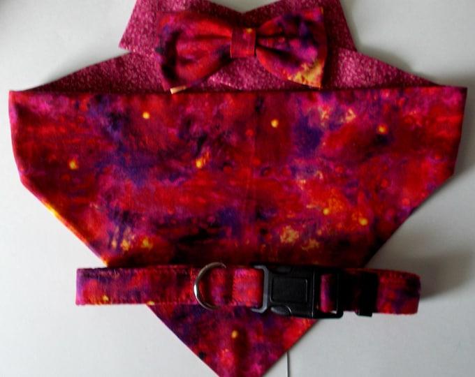 Dog Collar, Dog Bandana, Dog Bow Tie Red Purple Tie Dye Gift Set