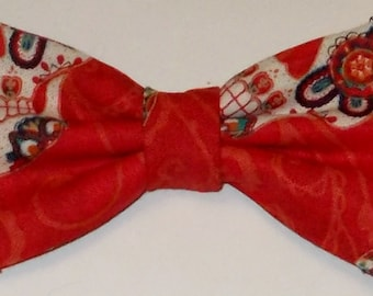 Dog Bow Tie Dead of the Dead Red Print Size Small