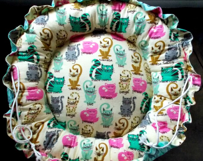Cat Bed, Reversible Flannel/Cotton