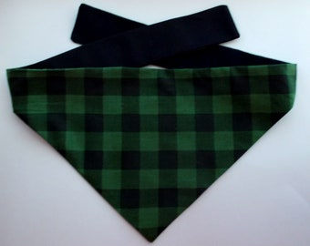 Dog Bandana, Buffalo Black & Green Plaid Print, Tie On, Reversible