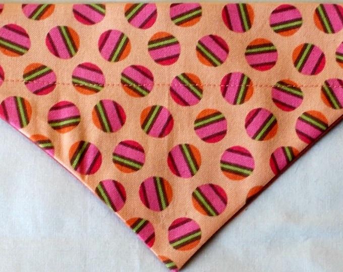Dog Bandana, Over the Collar, Orange Dot Print