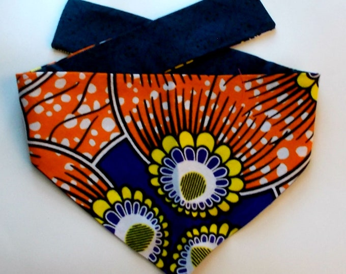 Dog Bandana, Tie On, Reversible, African Wax Floral Print - Size Small