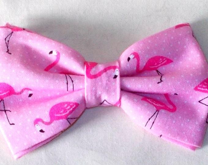 Dog Bow Tie Pink Flamingo Print Size Small