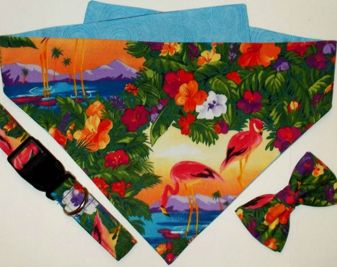 Dog Collar, Dog Bandana, Dog Bow Tie Flamingo/Tropical Print Gift Set