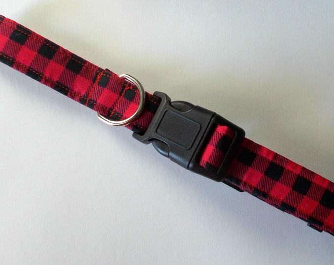 Dog Collar, Buffalo Plaid Red and Black Print
