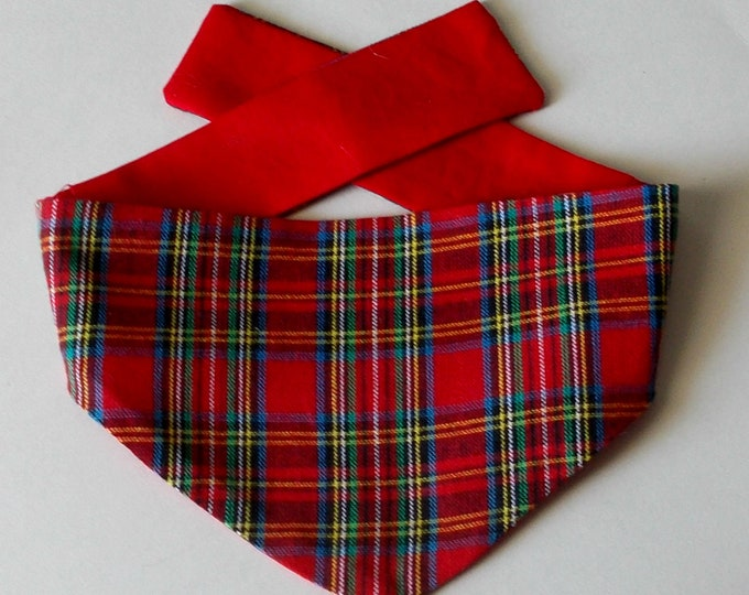 Dog Bandana, Red Plaid, Tie On, Reversible