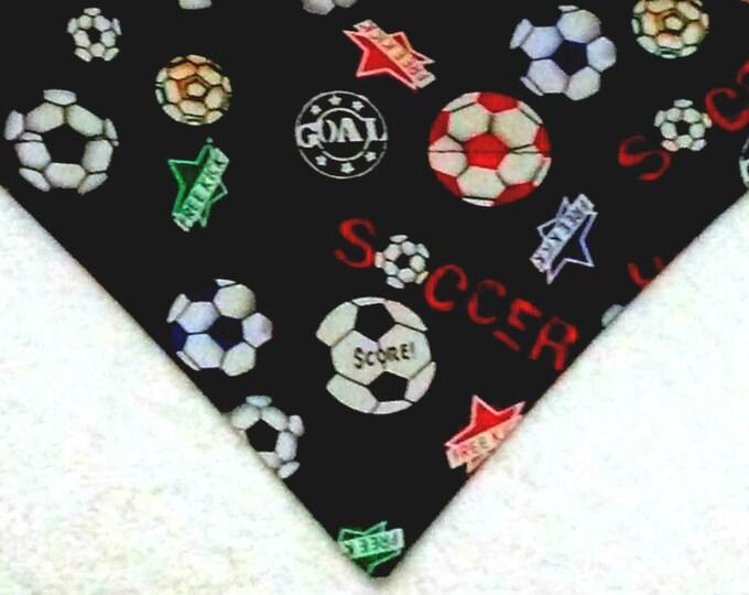 Dog Bandana, Over the Collar, Soccer Print