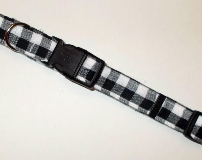 Dog Collar, Buffalo Plaid White and Black Print