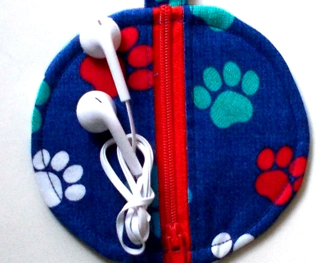 Ear Bud Case, Ear Bud Pouch, Ear Bud Holder, Ear Pod Case, Air Pod Case, Coin Purse, Dog Paw Print