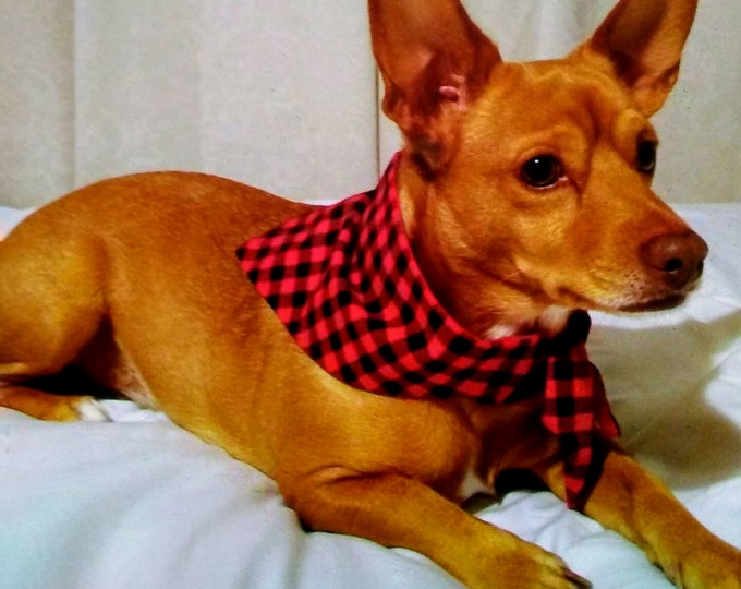 Dog Bandana, Buffalo Black & Red Plaid, Tie On, Reversible