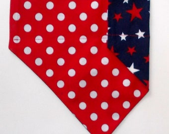 Dog Bandana Red White & Blue, Reversible Star/Polka Dot Print Over the Collar, Large Dog Bandana, Toy Dog Bandana, Tea Cup Dog Bandana