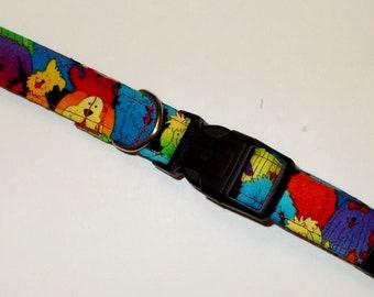 Dog Collar Pack of Puppies Print Size Medium, Pet Collar, Dog Collar, Dog Accessories, Handmade Dog Collar,