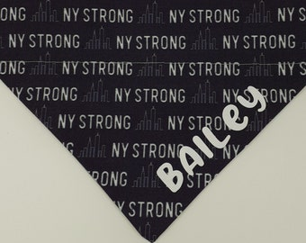 Personalized Dog Bandana Over the Collar, New York Strong Dog Bandana (Grey)  New York City Dog Bandana, Toy Dog Bandana, Cat Bandana