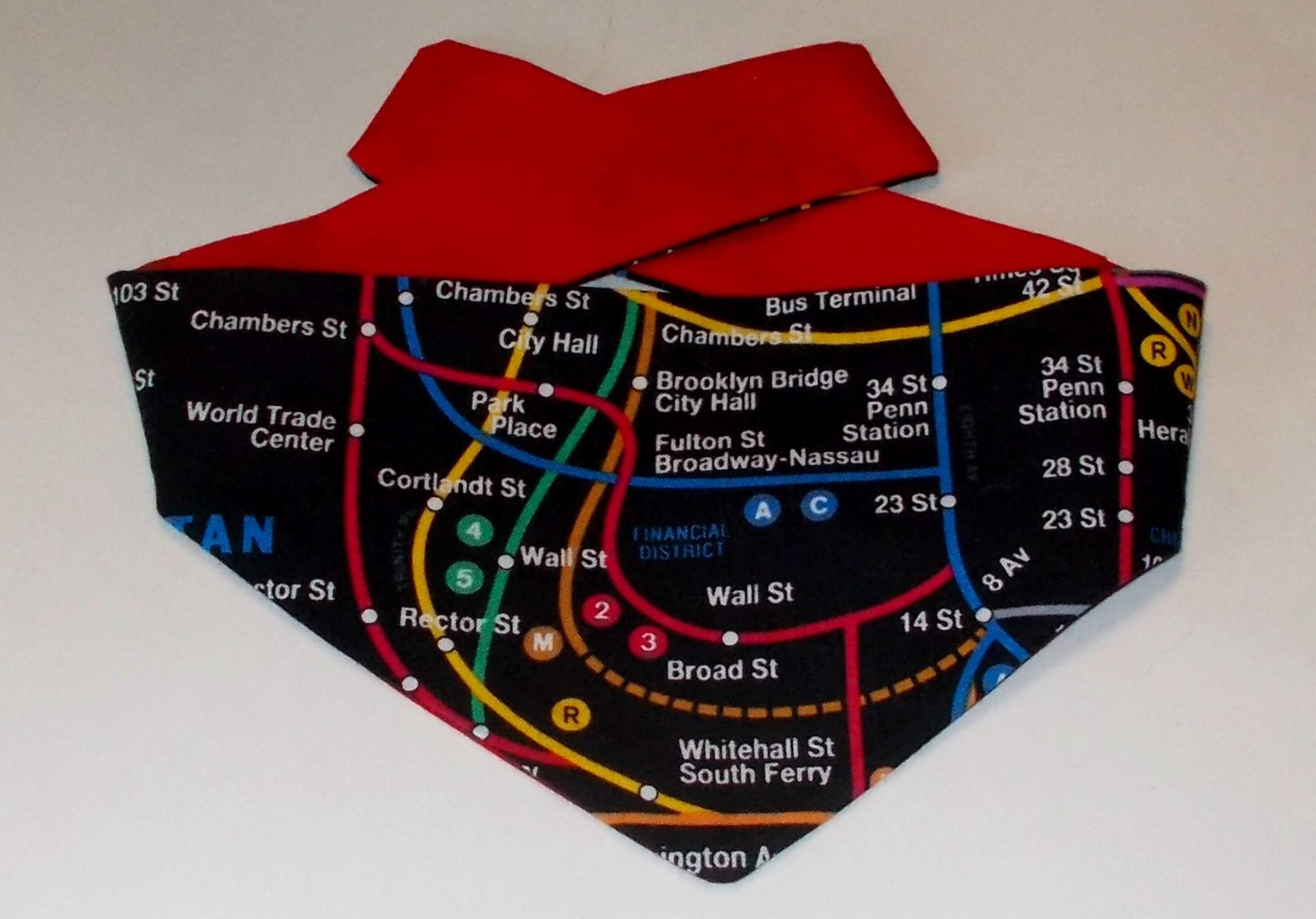 Subway Map From 14th To Chambers.Dog Bandana Tie On Reversible New York City Subway Map Print