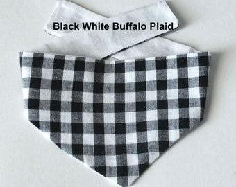 Buffalo Plaid, Dog Bandanas, Tie On, Reversible, Toy Breeds, Size X-Small