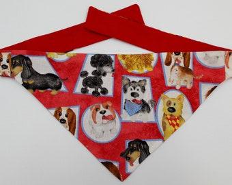 Dog Bandana Tie On Reversible Dog Bandana, Puppy Faces Print Dpg Bandana, Toy Dog Bandana, Small Dog Bandana, Tea Cup Dog Bandana
