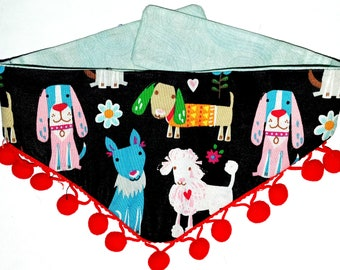 Dog Bandana Tie On Reversible, Puppies and Pom Poms Print, Toy Dog Bandana, Tea Cup Dog Bandana