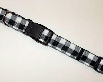 Dog Collar, Buffalo Plaid White and Black Print (Size Medium), Pet Collar, Dog Accessories, Handmade Dog Collar,