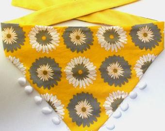 Dog Bandana Tie On Reversible, Chrysanthemum Print Size Large Dog Bandana, Large Dog Bandana, Pet Bandana