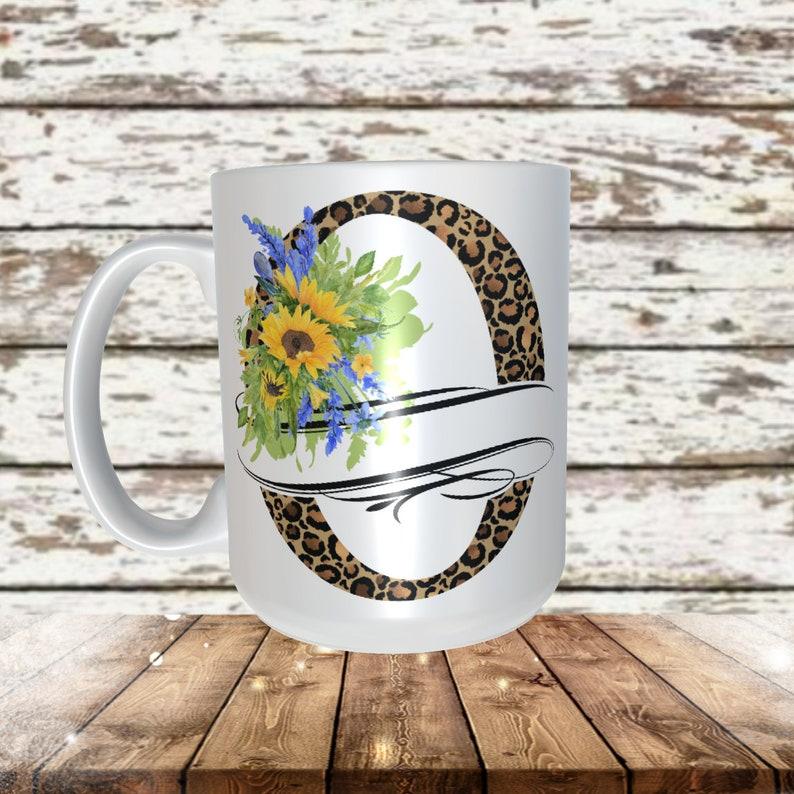 Leopard & Sunflowers Split Letter O Sublimation Design 13 ...