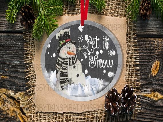 2 Snowman Christmas Ornament Designs Snowman Let It Snow Etsy