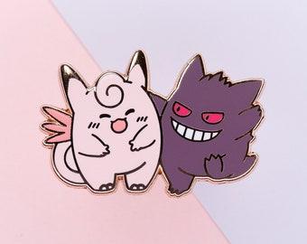 Purple Monster & Pink Cutie - Pocket Monster Hard Enamel Pin Gengar and Clefable