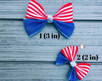 Symbol Of The Brand Handmade 4 Inch Hair Clip Bow Blue Red Green Stripes Kids' Clothes, Shoes & Accs. Girls' Accessories