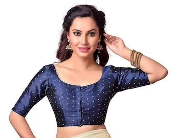 6064042c Ready made Saree Blouse, Navy Blue CZ Stone Studded Designer Saree Blouse,  Sari Blouse, Elbow Sleeve Blouse, Indian Saree Blouse, Choli