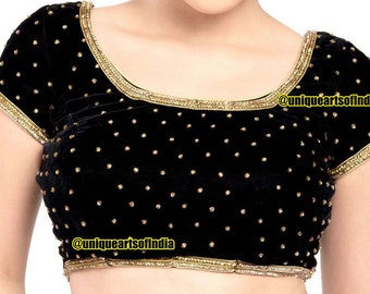 948b3d11049a81 Readymade Blouse, Ready to Wear Saree Blouse, Saree Blouse, Black Velvet CZ  Stone Work Saree Blouse, Padded Saree Blouse, Indian Choli