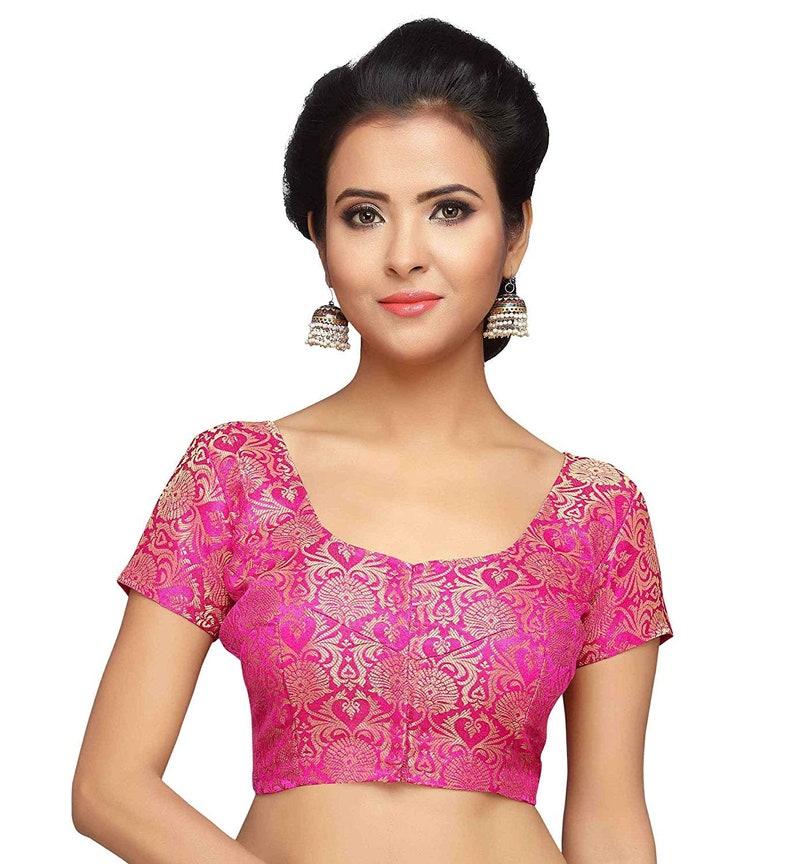 Ready made Saree Blouse Hot Pink Banarasi Silk Plain Saree Blouse Indian Saree Blouse Bollywood Short Sleeve Saree Blouse Sari Blouse