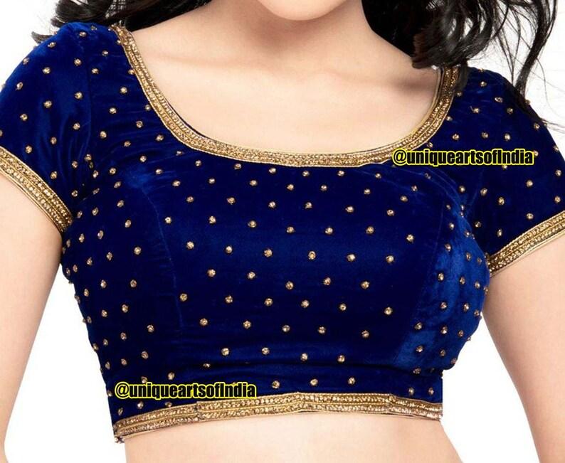Indian Sari Blouse Readymade Saree Blouse Blue Net Padded Choli saree blouse