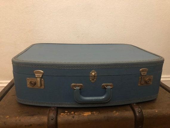 Vintage Blue Round Top Suitcase