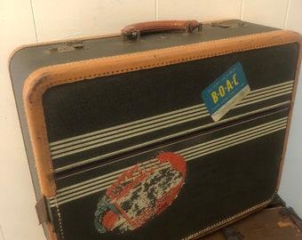 Vintage Striped Winship Suitcase