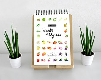 Perpetual calendar of seasonal fruits and vegetables in watercolor