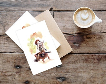 Postcard illustrated in watercolor - The pipo player
