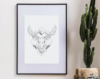 Quebec Moose Illustration - Original framed work