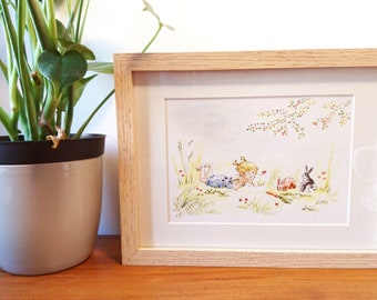 Illustration Little Girl with Rabbits - Original framed work