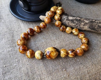 Pattern Landscape White Amber Beads Necklace, Marble Butterscotch White Antique Amber Stylish Necklace Beads