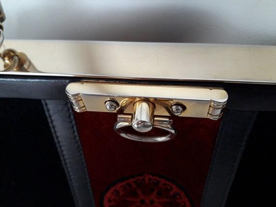 80s Roberta Di Camerino vintage bag - Black red v… - image 10