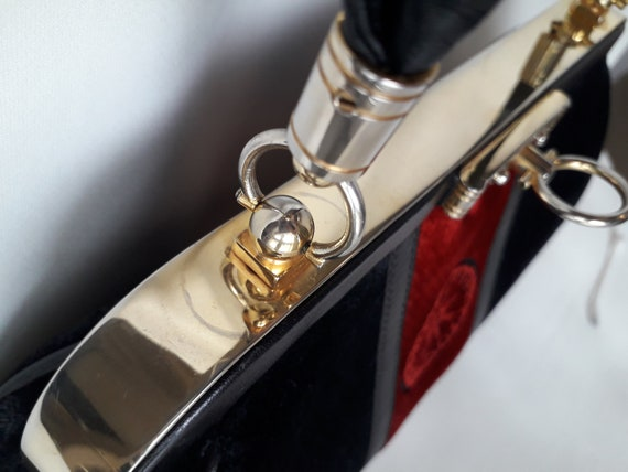 80s Roberta Di Camerino vintage bag - Black red v… - image 6