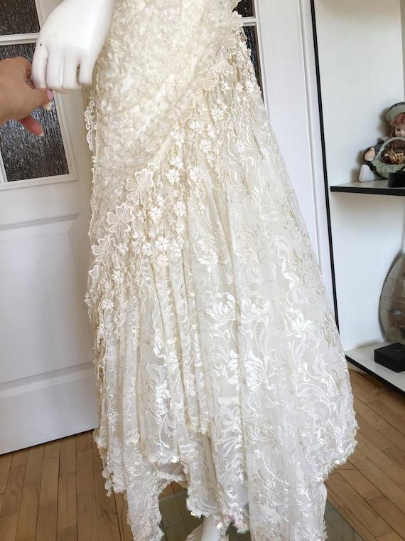 Rare CAROLE LEE Victorian Wedding Gown, Antique L… - image 6