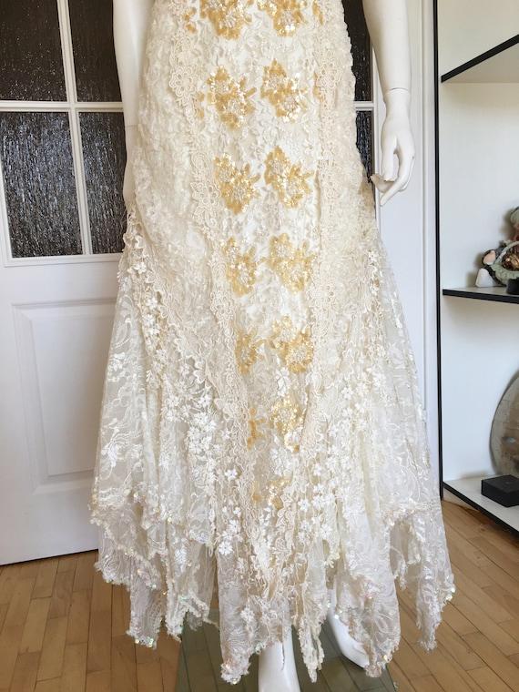 Rare CAROLE LEE Victorian Wedding Gown, Antique L… - image 4