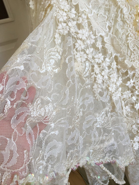 Rare CAROLE LEE Victorian Wedding Gown, Antique L… - image 8