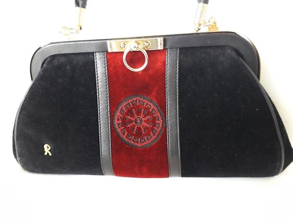 80s Roberta Di Camerino vintage bag - Black red v… - image 3