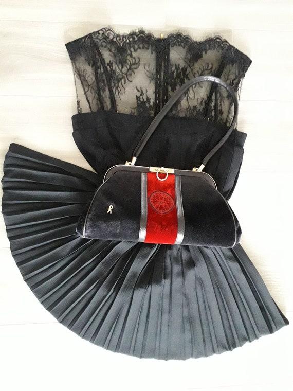 80s Roberta Di Camerino vintage bag - Black red v… - image 1