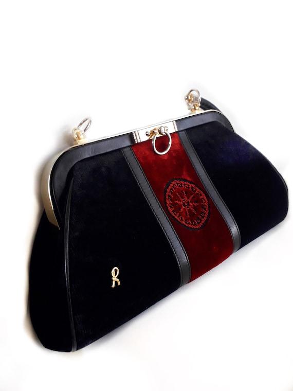 80s Roberta Di Camerino vintage bag - Black red v… - image 7