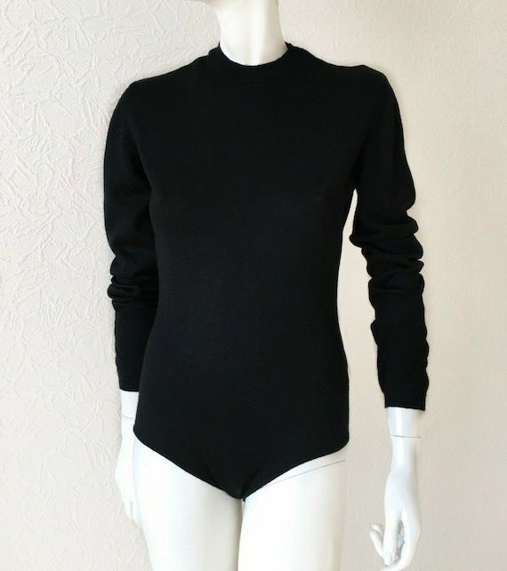 Jean Paul Gaultier vintage black wool bodysuit - J